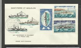Saint Pierre Miquelon FDC YT 414.16 Bateaux Ralliement à France Libre 2ème Guerre Mondiale - St.Pierre Et Miquelon