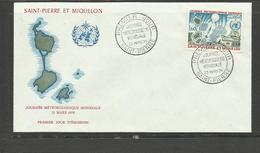 Saint Pierre Miquelon FDC YT 433 Journée Météorologie 23.3.74 Ballon Sonde Bateau Avion - St.Pierre Et Miquelon