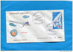 """MARCOPHILIE-""""JET CONCORDE""""GABON  Enveloppe Illustrée  FDC """"DEC 1975 StampsN°A 172-tirage Limité 3000ex"""