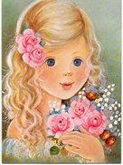 Petit Fille Avec Bouquet De Fleurs - Tarjetas De Fantasía