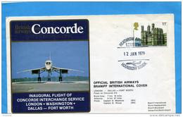 "MARCOPHILIE-""JET CONCORDE"" Lettre British Airways   1er Vol-London-Dallas  Washington-cad19 Ja 79"