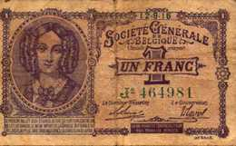 BELGIQUE  1 FRANC Du 12-9-1916  Pick 86b - [ 2] 1831-... : Belgian Kingdom