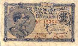 BELGIQUE  1 FRANC Du 27-4-1920  Pick 92  XF/SUP - 1 Franc