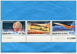 """MARCOPHILIE  """"Jet CONCORDE""""MALI- Timbres En Triptyque   Surchargé""""l'homme Sur La Lune Stamps Neufs***N°78-80"""