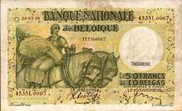 BELGIQUE  50 FRANCS  Du 20-7-1938  Pick 106  XF/SUP - [ 2] 1831-... : Belgian Kingdom