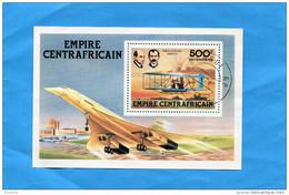 """MARCOPHILIE-   """"Jet CONCORDE"""" R C A EMPIRE CENTRAFRICAIN Bloc N°25  Oblitéré 1978"""