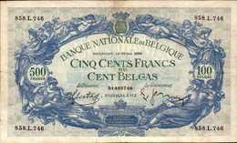 BELGIQUE  500 FRANCS  Du 16-5-1939  Pick 109  XF/SUP - [ 2] 1831-... : Belgian Kingdom
