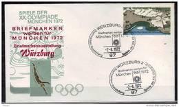 ALLEMAGNE   FDC  Cachet    WURZBURG  2      Le    2-8-72   Jo 1972   Logo  Stade Natation