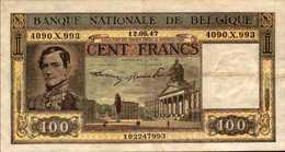 BELGIQUE  100 FRANCS  Du 12-6-1947  Pick 126  XF/SUP - [ 2] 1831-... : Royaume De Belgique