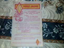 Publicité HUILE  JAUNE Pour Le Traitement Des Arbres Fruitiers Tract 1 Page  Usine SACFA  A  LYON - Publicidad