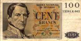 BELGIQUE  100 FRANCS  Du 7-10-1958  Pick 129c - [ 2] 1831-... : Royaume De Belgique