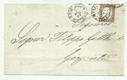 AS060-Lettera (gran Parte) Da Palermo 3.3.1861 Per Girgenti Con 10 Cent. Effigie - Firma Raybaudi - Sardegna