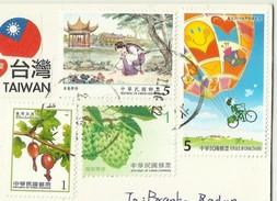 China Taiwan , ART Balloon Bicycle Bike Postman , Fruit Used Air Mail  2016