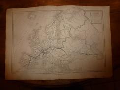 1861 Carte Géographique-Physique De L' EUROPE (oro-hydrologie Et Partage Des Eaux)  ;par Drioux Et Leroy, Grav Jenotte - Geographical Maps