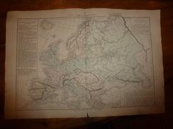 1861 Carte Géographique Des RACES Qui Ont Peuplé L'EUROPE (Sémitique,Indo-Germanique,Jaune,etc ;par Drioux Et Leroy, - Geographical Maps