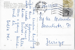 CARTOLINA ILLUSTRATA FIRENZE SPEDITA IN SVIZZERA 1973 IN TARIFFA LIRE 55 - 1971-80: Storia Postale
