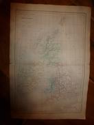 1861 Carte Géographique Physique Et Politique Des ILES BRITANNIQUES (Great-Britain)  ;par Drioux-Leroy; Gravure Jenotte - Geographical Maps