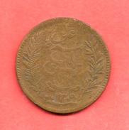 10 Centimes , TUNISIE , Bronze , AH 1309 , 1892 A , N° KM # 222 - Tunisie