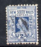 """T13 - NEW SOUTH WALES , Vittoria 2 D. Usato Con Filigrana """"crown On NSW """" CAPOVOLTA . Non Catalogato . Un Dente Corto - 1850-1906 New South Wales"""