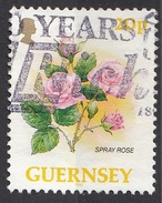 487 Guernsey  1992 Fiore Flowers Spray Rose Rosa Viaggiato Used