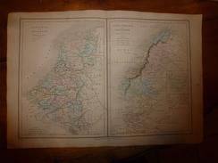 1861 Carte Géographique BELGIQUE & HOLLANDE; SUEDE,NORVEGE & DANEMARK; ISLANDE ;par Drioux Et Leroy; Gravure De Jenotte - Geographical Maps