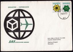 Singapore: Special Flight Cover To Denmark, 1973, 2 Stamps, Flowers, SAS Singapore-Copenhagen (minor Damage) - Singapore (1959-...)