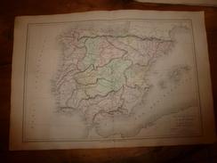 1861 Carte Géographique Physique Et Politique ESPAGNE Et îles Baléares; PORTUGAL;par Drioux Et Leroy; Gravure De Jenotte - Geographical Maps