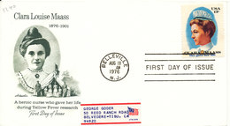 USA FDC 18-8-1976 Clara Louise Maass NURSING With Cachet - 1971-1980