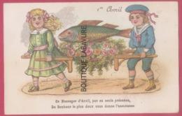 1° AVRIL-- Enfants Portant Un Poisson--Ce Message D'Avril Par Sa Seule Présence Du Bonheur Le Plus Doux...lire Legende - April Fool's Day