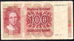 NORWAY 100 KRONER 1988 P-43d G - Norvegia