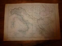 1861 Carte Géographique Physique Et Politique De L' ITALIE, La TURQUIE Et La GRECE ;par Drioux Et Leroy; Grav  Jenotte - Geographical Maps