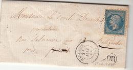 LETTRE.   20 MAI 63.   SEINE INFERIEURE   HARFLEUR.   ORIGINE RURALE   OR    ST LAURENT     /67 - Marcophilie (Lettres)