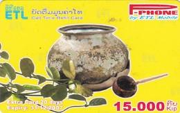 Laos, P-002, 15.000 Kip, P-Phone, Call Time Refill Card, 2 Scans.