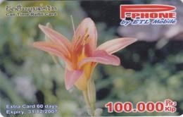 Laos, P-052, 100.000 Kip, P-Phone, Call Time Refill Card, Flower, Orchid ?, 2 Scans. - Laos
