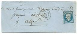 N° 14 NAPOLEON BLEU NON DENTELE / PARIS POUR ALGER 1860 - 1849-1876: Période Classique
