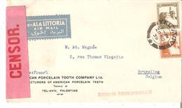"""N° 66-74 TEL-AVIV 20 NOV. 1939 S/Lettre Vers Bruxelles. Bande Rose """"T.N° 50 : OPENED BY CENSOR"""" TB - Palestine"""