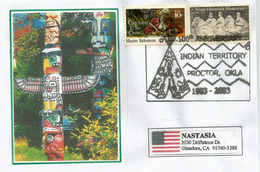 Territoire Indien De Proctor (Oklahoma) Obliteration Illustrée Sur Lettre Illustrée Adressée Californie