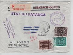 TP 56-58-62 Griffe Etat Du Katanga S/L.recommandée Avion Service Sanitaire Elisabetville 24/2/1962 V.BXL PR3915 - Katanga