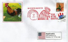 2017 Année Du Coq, Belle Lettre De New York Adressée En Californie - Nouvel An Chinois