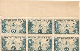 PLANCHE DE 6 TIMBRES LA  FRANCE D'OUTRE MER 2F En 1945 - Mint/Hinged