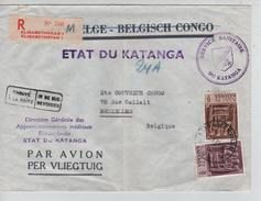 TP 59-61 Griffe Etat Du Katanga S/L.recommandée Elisabethville 1/3/62 V.Bruxelles PR3916 - Katanga
