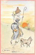 Carte Postale Dessinée à La Main, Original Représentant Une Femme Avec Chien, Colorisée Précurseur Signé A; Guyon - Femmes