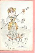 Carte Postale Dessinée à La Main, Original Représentant Une Femme Avec Mouton, Colorisée Précurseur Signé A. Guyon - Women