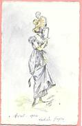 Carte Postale Dessinée à La Main, Original Représentant Une Femme En Tenue, Colorisée Précurseur Signé A. Guyon - Femmes