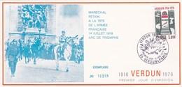 Document Comité National Du Souvenir De Verdun Pour Le 60e Anniv Bataille De Verdun 1er Jour YT 1883 12 Juin 1976 - Altri