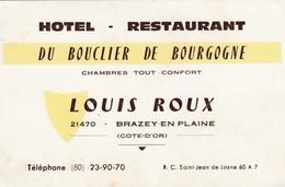 """Carte Commerciale Hôtel Restaurant """" Du Bouclier De Bourgogne""""/ Louis ROUX / Brazey En Plaine 21 Côte D'Or - Cartes"""