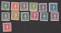 Austria, Scott #M49-M53, M55, M59-M65, Mint Hinged, Emperor Karl I Military Stamps, Issued 1917 - Austria