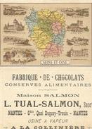SEINE  ET  OISE  CARTON DE PRESENTATION DE LA SEINE ET OISE >>>DOS   CHOCOLAT L. THUAL SALMON  NANTES