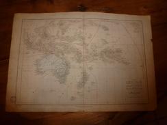 1861 Carte Géographique Physique Et Politique OCEANIE (Australie,Nlle- Zelande,Poynésie);par Drioux-Leroy; Grav Jenotte - Geographical Maps