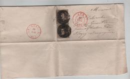 TP 3(2) S/LAC Daté De Arbre Obl.à Barre 7 C.Ath 18/11/1850 V.Strépy Bacquegnies C.d'arrive Le Roeulx 19/11/1850 PR3917 - Postmark Collection